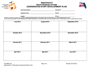 Provider Coordinated Staff Development Planning Chart
