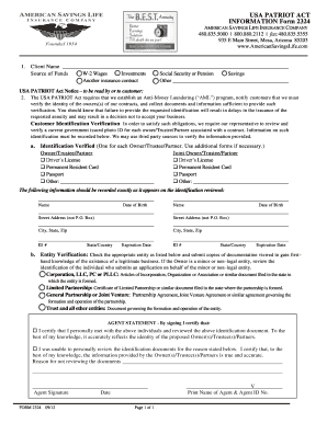 Fillable Online USA PATRIOT ACT INFORMATION Form 2324 - American ...