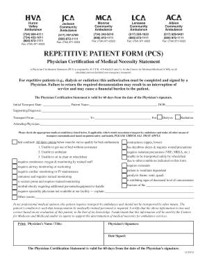 Fillable Online hva REPETITIVE PATIENT FORM (PCS) - Huron Valley ...