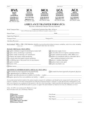 Fillable Online hva AMBULANCE TRANSFER FORM (PCS) - Huron Valley ...