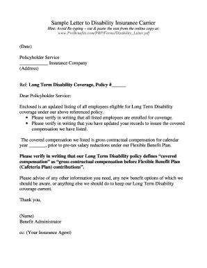 Disability Letter Sample
