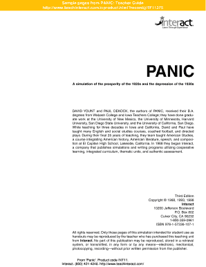 Sample pages from PANIC: Teacher Guide http://www.teachinteract ...