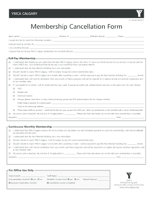 Fillable Online Membership Cancellation Form - YMCA Calgary Fax ...