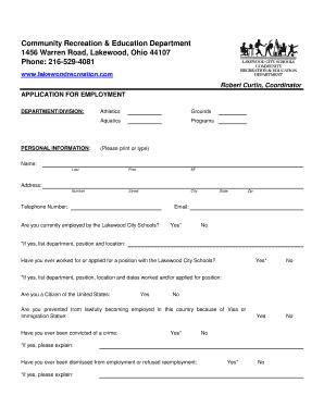 fillable online employment application lakewood recreation