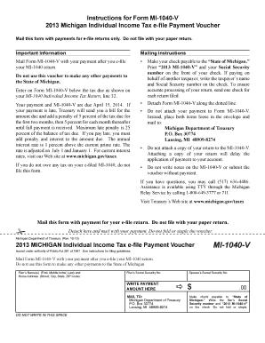 IRS Michigan Form MI-1040-V | PDFfiller