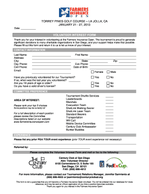 27, 2013 volunteer interest form - The Farmers Insurance Open