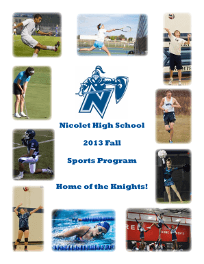 Nicolet High School 2013 Fall Sports Program Home of the Knights