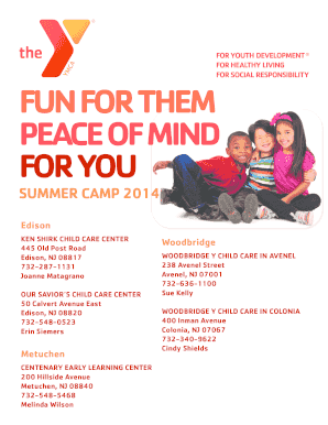 oakcrest edison nj ymca summer camp brochure form