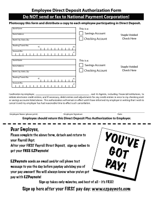 Fillable Online Employee Direct Deposit Authorization Form ...