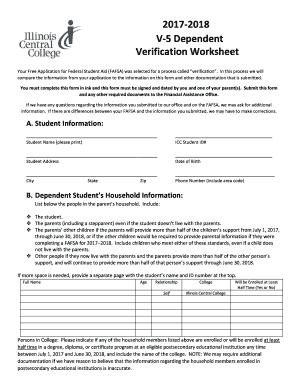 fillable online icc 2017 2018 v 5 dependent verification worksheet - Dependent Verification Worksheet