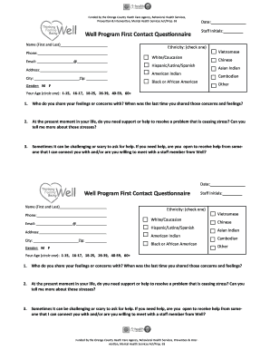 Mental Health Service Questionnaire Fillable Forms Templates To