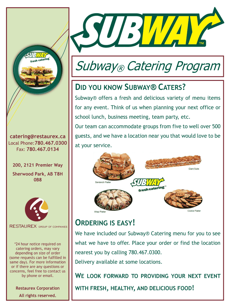 picture regarding Printable Subway Menu called DID Your self Notice SUBWAY ATERS - Restaurex Fill On line, Printable