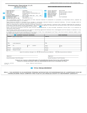 Fillable Online Modified NADOA Model Form Division Order (Adopted 9 on division of property order opers, division order template, facilities maintenance request form,