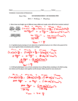 Printables Worksheet Conservation Of Momentum fillable online worksheet conservation of momentum fax email fill online