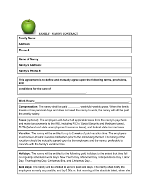 nanny contract pdf Forms and Templates - Fillable & Printable ...