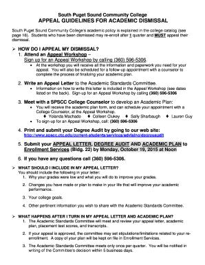 Academic Dismissal Appeal Letter from www.pdffiller.com