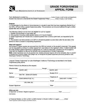 lwtech email Fillable Online lwtech GRADE FORGIVENESS APPEAL FORM - lwtech Fax ...