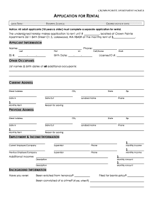 rent application form doc