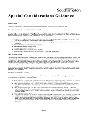 Special Considerations Guidance Fill Online, Printable