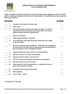 2016 Annexation Plat Content Requirements - City of Woodland Park