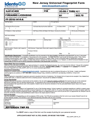 New Jersey Universal Fingerprint Form Fill Online Printable