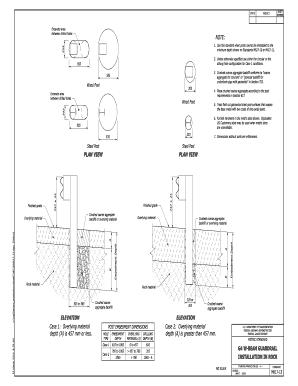 Standard M617-13  G4 W-Beam Guardrail, Installation in Rock