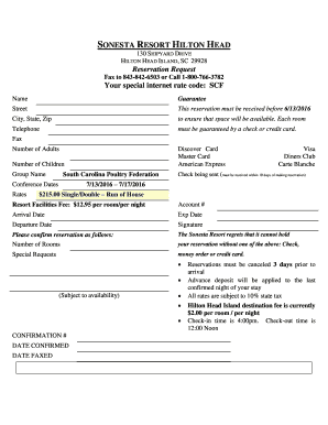 Fillable Online scpoultry 2016 Room Reservation Form - South