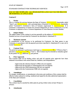 Technology Services Contract Template Editable Fillable