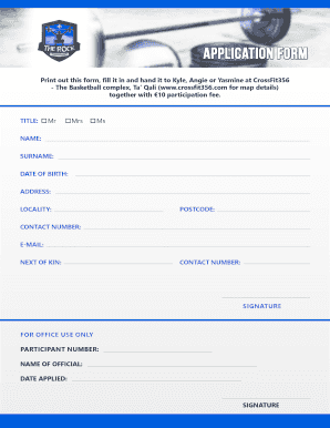 Print out this form, fill it in and hand it to Kyle, Angie or Yasmine at CrossFit356