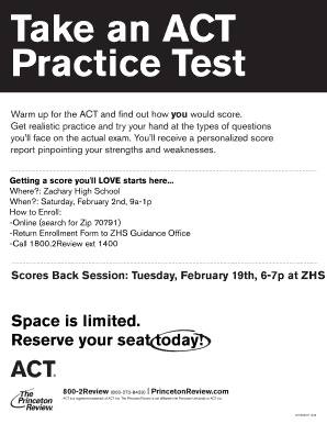 Take an ACT Practice Test - zacharyhigh.org