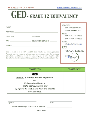 Fillable Online KCE REGISTRATION FORM WWW.WATERTRAINING.CA GED Fax ...