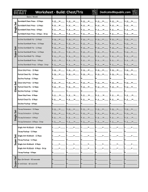 image about Body Beast Schedule Printable titled Human body Beast Worksheets.xlsx - Committed Republic Fill On the internet