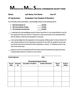 Fillable Online CHOOL CHROMEBOOK RECEIPT FORM Fax Email