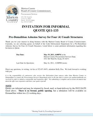INVITATION FOR INFORMAL QUOTE Q11-133 Pre-Demolition