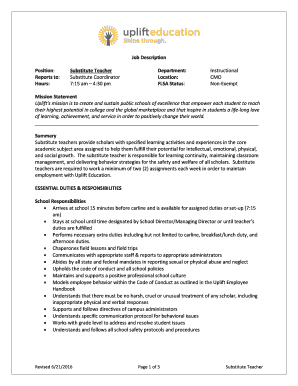 Fillable Online Uplifteducation Job Description Substitute