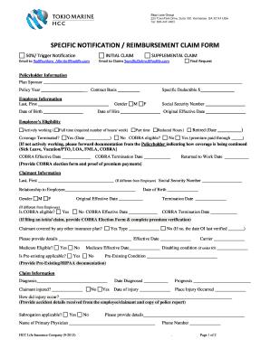 Specific Notification / Reimbursement Claim Form   Tokio Marine HCC