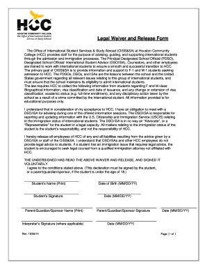 Fillable Online Hccs Legal Waiver And Release Form