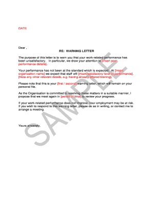 Fillable warning letter for poor housekeeping - Edit, Print