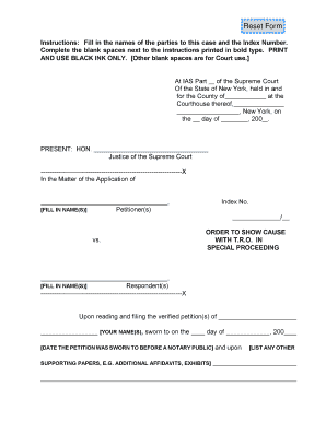 Reset Form   New York State Unified Court System  Blank Affidavit Form