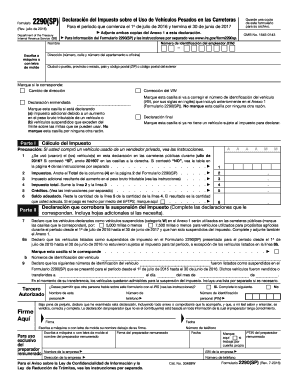 2290 form 2016  Fillable Online irs Form 7 (SP) (Rev. July 7). Heavy ...
