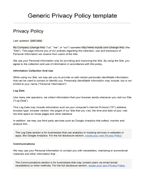 Generic Privacy Policy >> Fillable Online Generic Privacy Policy Template Fax Email