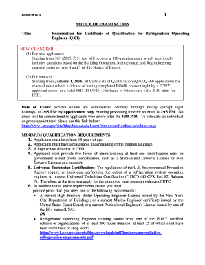 Fillable Online 1 NOTICE OF EXAMINATION Title: Examination ...