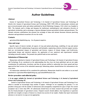 Author Guidelines of The Journal of Agricultural Science
