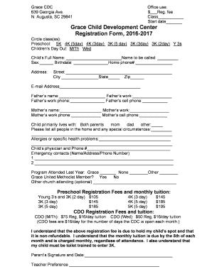Fillable Online Cdc Gotgraceumc 2016 2017 Registration Form Grace
