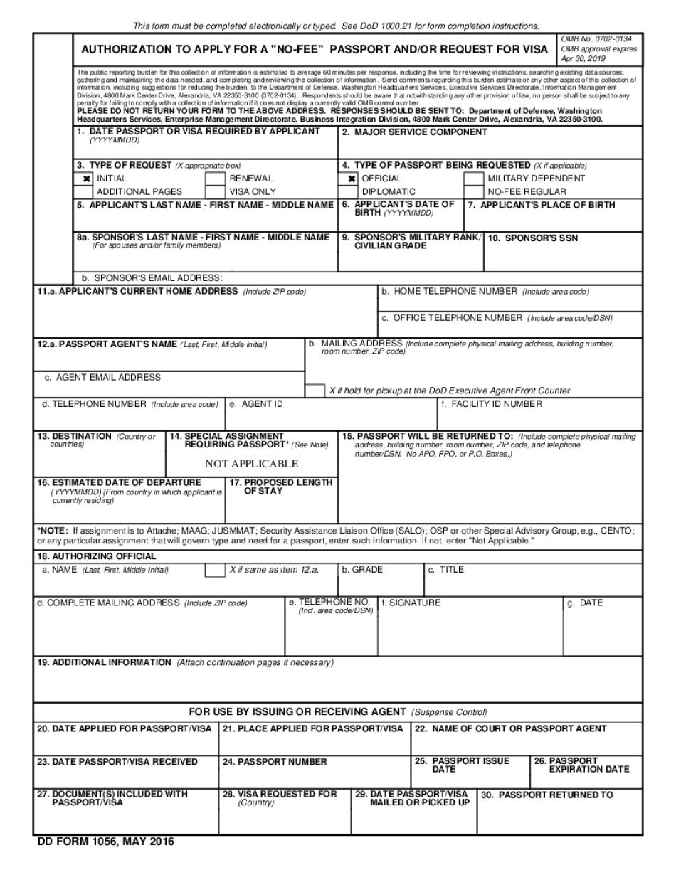 DD Form 1056