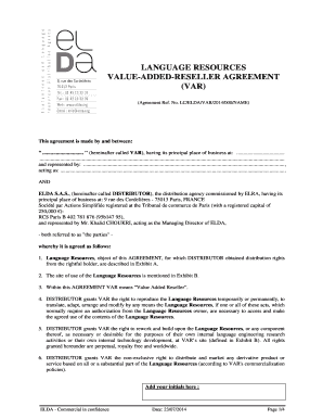 Var form 1100 editable fillable printable legal templates to lceldavar2014000namethis agreement is made by and between hereinafter called var having its principal place of business at and represented byting platinumwayz