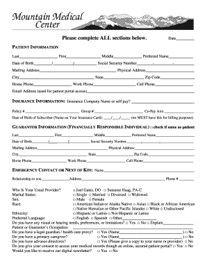 new patient registration form mountain medical center
