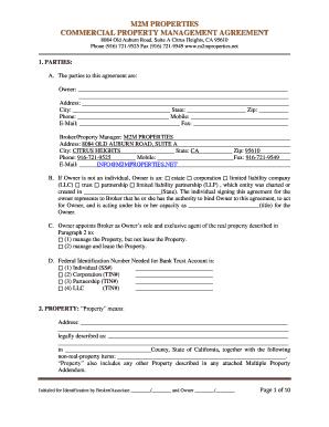 Management Agreement Concerning   M2mproperties