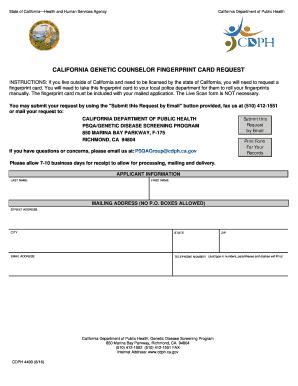 image relating to Printable Fingerprint Card called California Genetic Counselor Fingerprint Card Question. CDPH
