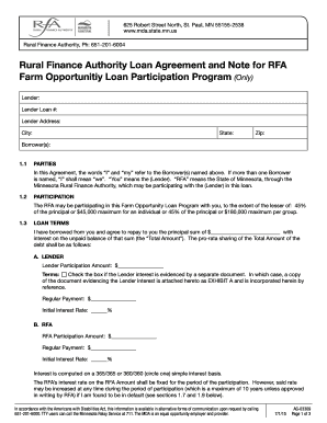 Fill out online forms templates download in word pdf farm opportunity loan participation program loan agreement and note rural finance authority loan agreement and platinumwayz
